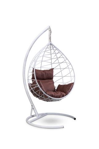 Подвесное кресло-кокон ALICANTE белое + каркас + коричневая подушка