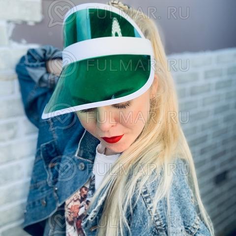 Козырёк от солнца на голову пластиковый прозрачный Зелёный