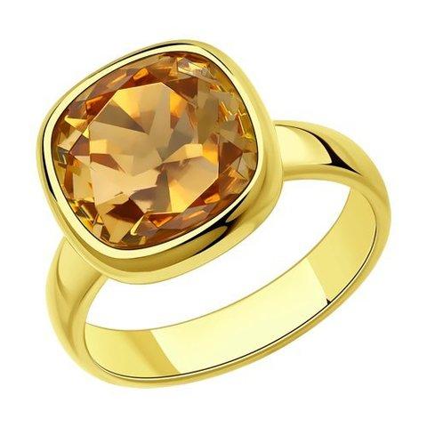 93010846 - Кольцо из золочёного серебра с кристаллом Swarovski