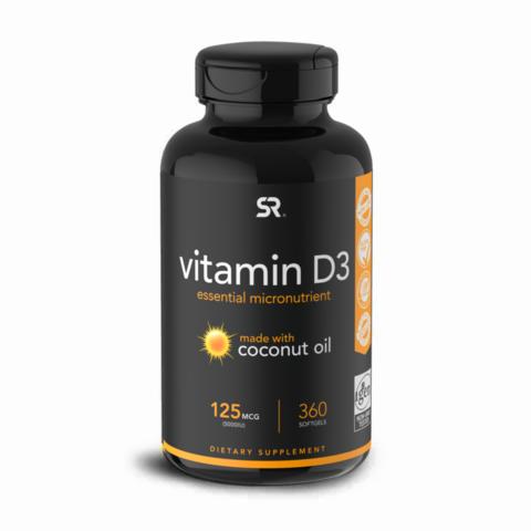Sports Research, Витамин D3 (с Органическим Кокосовым Маслом), 5000 МЕ, 360 капсул
