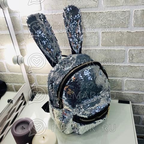 Рюкзак Кролик с ушами в двусторонних пайетках Серебристый-Зеркальный
