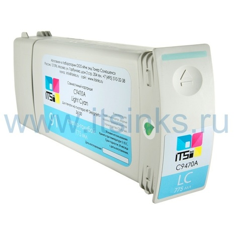 Картридж для HP 91 (C9470A) Light Cyan 775 мл