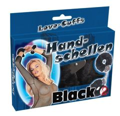 Металлические наручники с черным мехом Hand-schellen