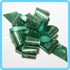 Бант подарочный зеленый с блестками 3 см