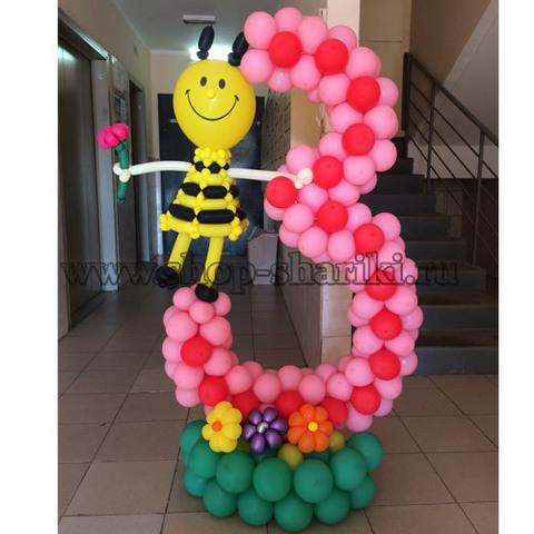 цифра 3 из шаров с пчелой