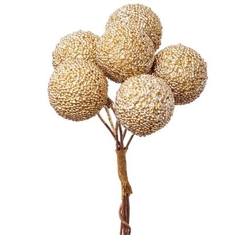 Набор шариков засахаренных на вставках 6шт., размер: D2,2xL11см, цвет: золотой