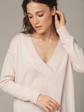 Женский розовый джемпер с V-образным вырезом из 100% кашемира - фото 2