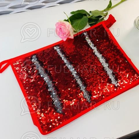 Папка для труда А4 для девочки в двусторонних пайетках 2 отделения (цвет: Красный - Серебристый)