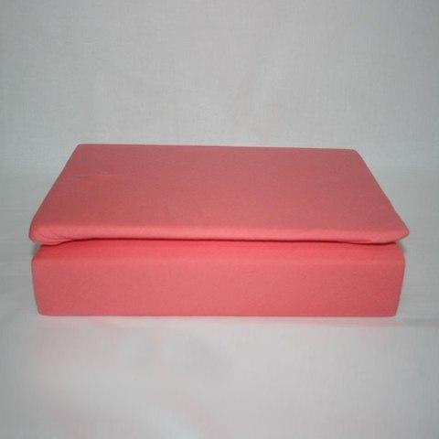 Простынь на резинке трикотажная 140x200 (коралловая)