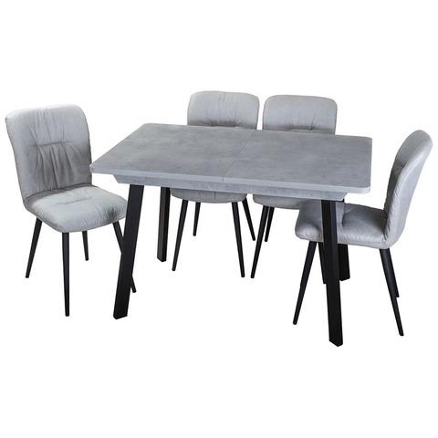 Стол Джаз ПР-1 СБ/СБ 93 ЧР / Серый бетон / ножки металл / 120(157)х80см