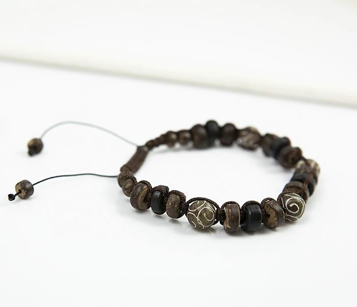 BS804 Мужской браслет из деревянных бусин и камня фото 04