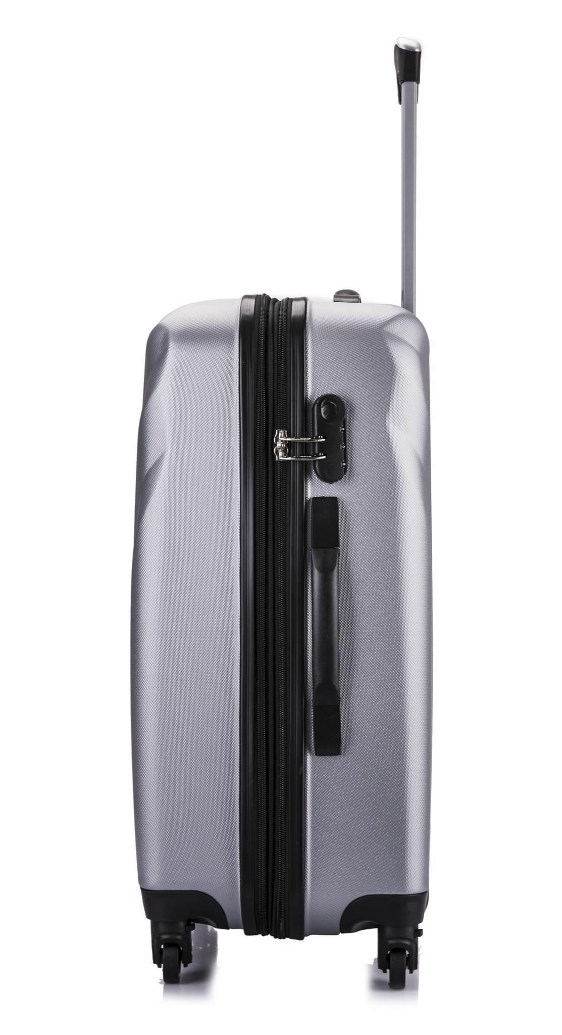 Чемодан с расширением L'case Phuket-20 Серебро ручная кладь (S)