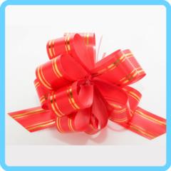 Бант подарочный красный с золотыми полосками 3 см
