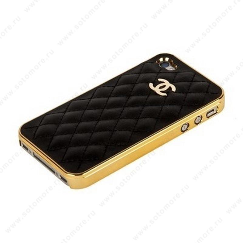 Накладка CHANEL для iPhone 4s/ 4 золотая+черная кожа