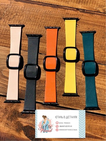 Ремешок Apple watch 42mm Modern Buckle Leather black /orange/