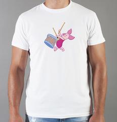 Футболка с принтом мультфильма Винни-Пух, Пятачок (Winnie the Pooh) белая 0028