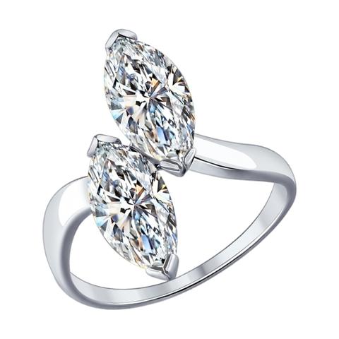 94012081- Кольцо  из серебра с фианитами капельками от SOKOLOV
