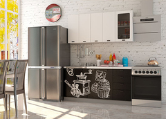 Кухня Coffee Time 1.6 / Шагрень белая - верх / Coffee черный - низ