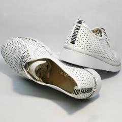 Летние белые туфли на низком каблуке GUERO G177-63 White.