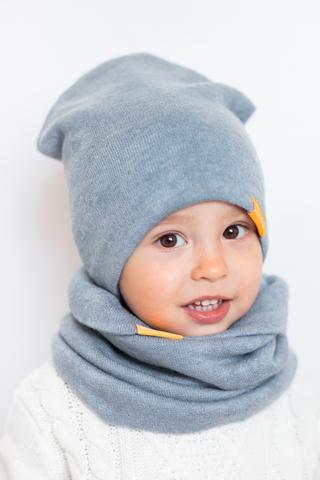 детская шапка из турецкой шерсти серо-голубая