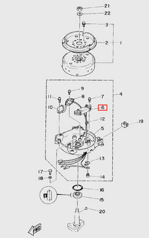 Катушка зажигания генератора  для лодочного мотора T5 Sea-PRO (5-6)