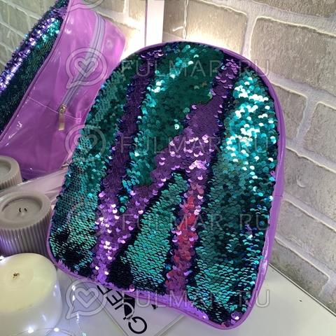 Рюкзак детский с пайетками меняющий цвет Фиолетовый-Бирюзовый Голубика