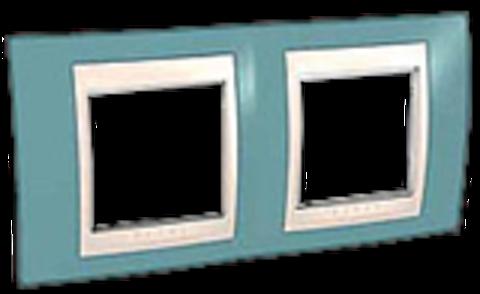 Рамка на 2 поста. Цвет Синий/Бежевый. Schneider electric Unica Хамелеон. MGU6.004.573