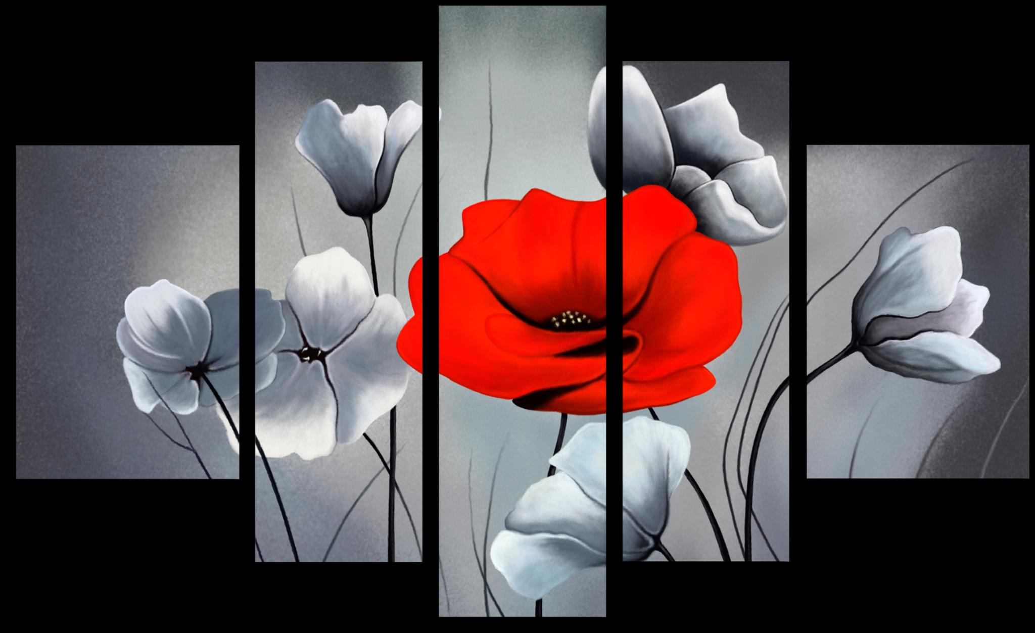 """Модульные картины Модульная картина """"Красный мак"""" М39.png"""