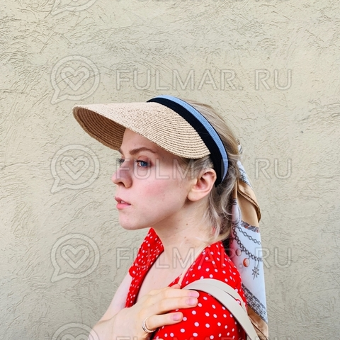 Козырёк-ободок от солнца на голову соломенный Sunny
