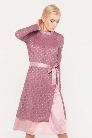 Фото розовое платье, состоящее из двух частей – основного платья без рукавов и удлиненного полупрозрачного джемпера с высоким разрезом - Платье З391-120 (1)