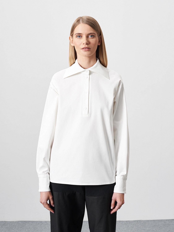 Рубашка Yvon с большим воротником, Молочный
