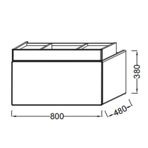 Мебель для ванной Jacob Delafon Terrace 80х48х38 ЕВ1186 HU белая схема