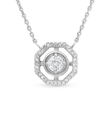 Колье из серебра с подвеской в виде восьмиугольника