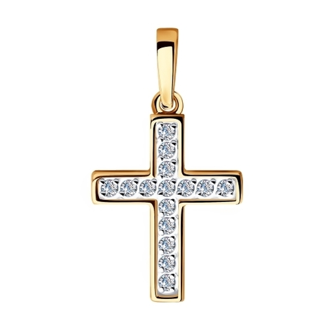 035850 - Крест из золота  с фианитами