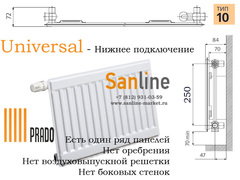 Радиатор Prado Universal Тип 10x300x1300 Нижняя подводка