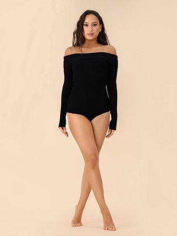 Женское боди черного цвета из вискозы - фото 3