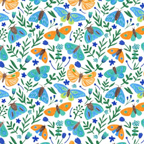 Бабочки и мотыльки в саду. Цветы и растения