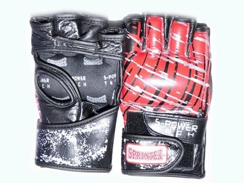 Перчатки для рукопашного боя. Материал кожа.  Размер L. Цвет чёрно-красный