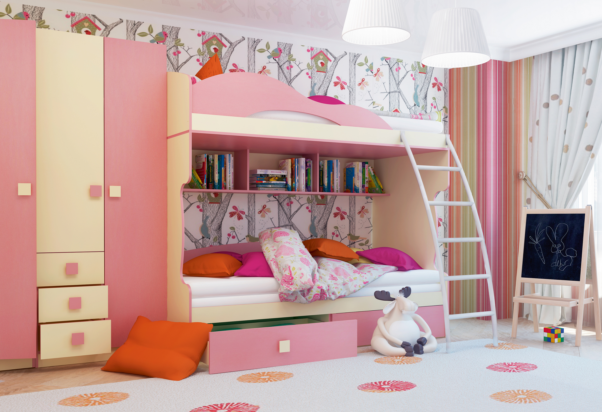 Радуга Кровать 2-й этаж + тахта