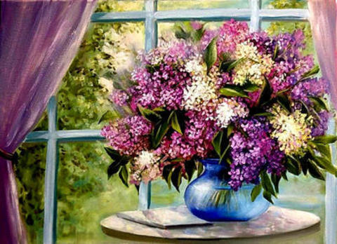 Картина раскраска по номерам 40x50 букет сирени у большого окна
