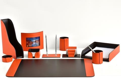 Настольный канцелярский набор 10 предметов из кожи цвет оранж/шоколад