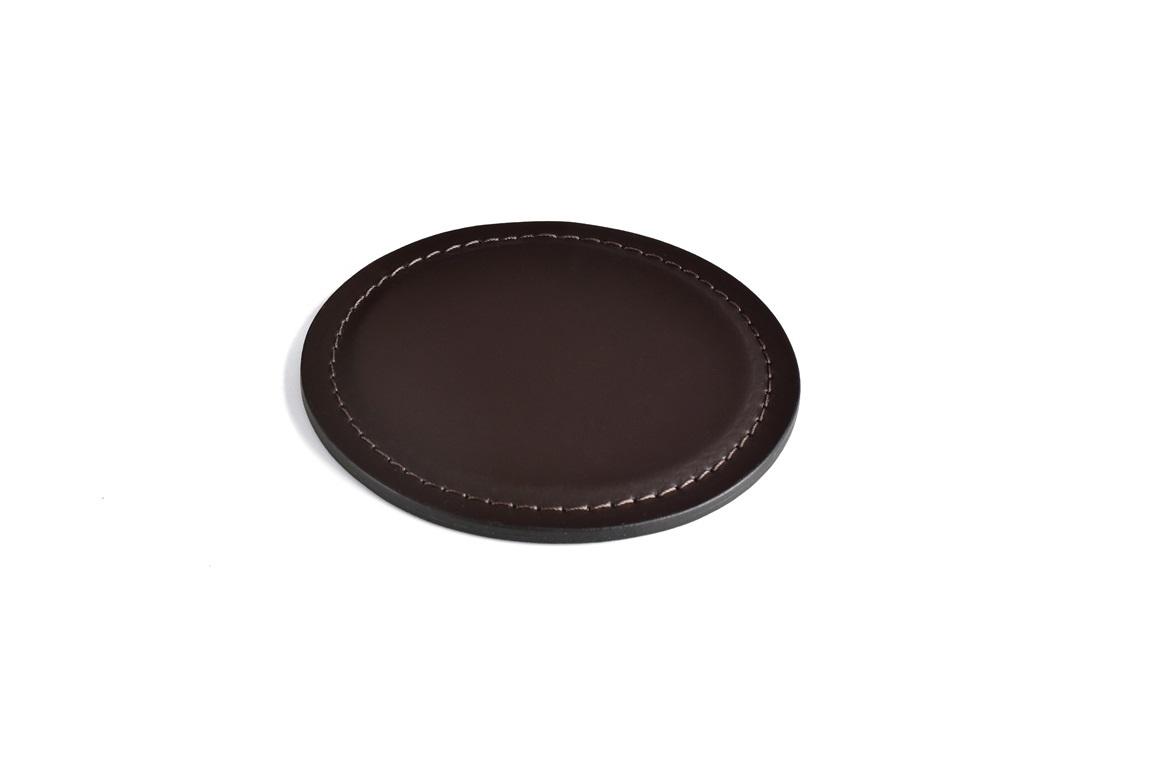 Подставка под стакан - костер из кожи цвет шоколад