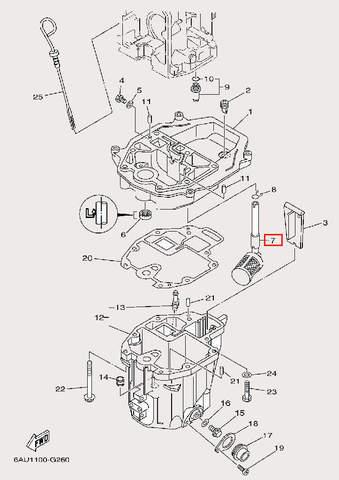 Фильтр масляный для лодочного мотора F9,9 Sea-PRO (24-7)