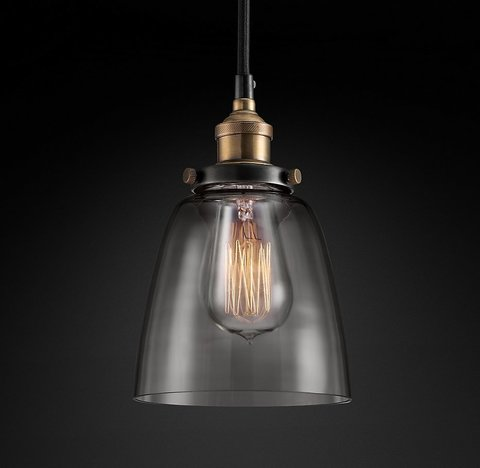Подвесной светильник копия 20th C. Factory Filament Smoke Glass Cloche Pendant by Restoration Hardware