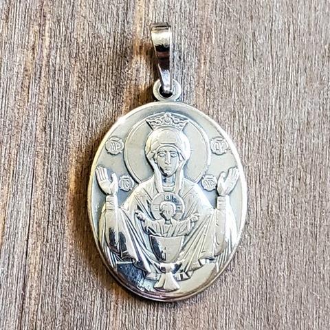 Нательная икона Неупиваемая Чаша икона Богородицы с серебрением кулон медальон с молитвой