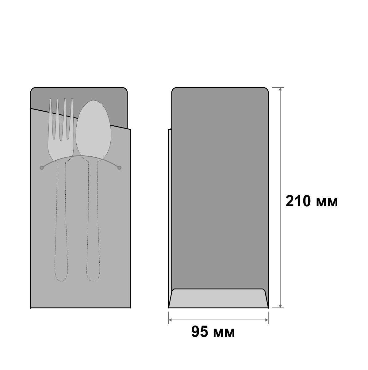 Плотный конверт для столовых приборов с логотипом на заказ 95х210 мм