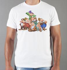 Футболка с принтом мультфильма Белоснежка и семь гномов (Snow White and the Seven Dwarfs) белая 003