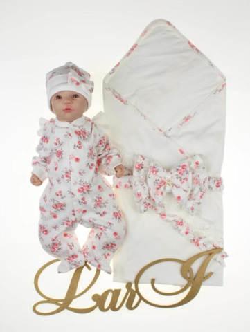Летний комплект на выписку для девочки Роуз (кремовый/розовый)
