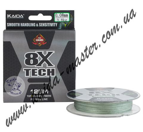 Шнур Kaida 8X Tech 125м 0,08мм 3,8 кг