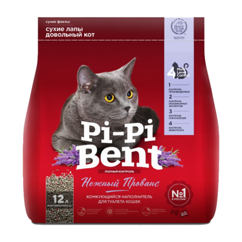 Pi-Pi-Bent Нежный Прованс Наполнитель для туалета кошек комкующийся (крафт пакет)
